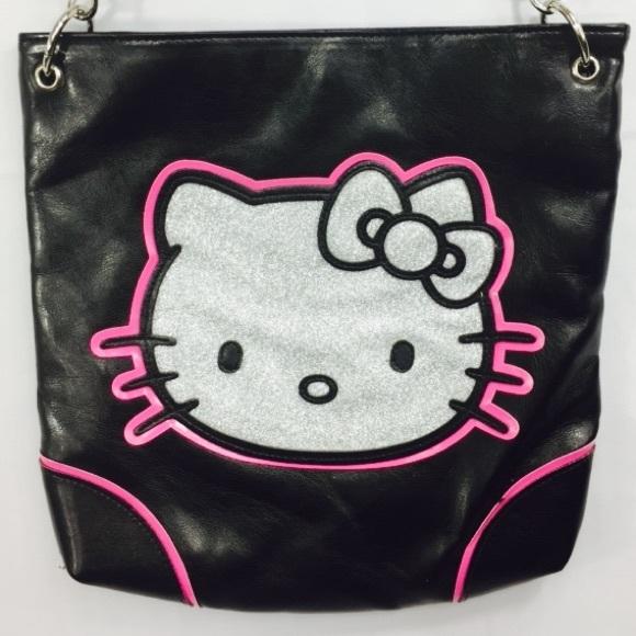 8abceaf47b Hello Kitty Handbags - Hello Kitty Black Shoulder Bag Purse Sparkle Face